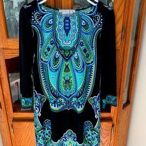 Maggie London 3/4 Sleeve Paisley Midi Dress